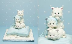 kitten cake by Debbie Brown from Baby Cakes. I Love Debbie Brown Cakes! Fondant Flower Cake, Cupcake Cakes, Fondant Cat, Fondant Rose, Dog Cakes, Girl Cakes, Fancy Cakes, Cute Cakes, Kitten Cake
