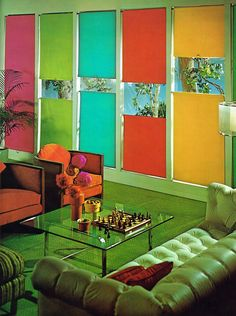Living room with bright color window shades, 1973 ""