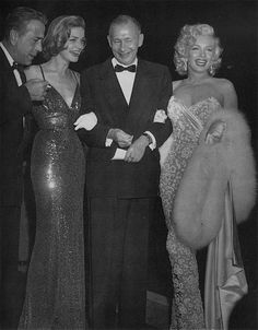 1953 November 4 - Marilyn Monroe - at the premiere of How to Marry a Millionaire - with Humphrey Borgart, Lauren Bacall and Nunnally Johnson (producer of the movie) Wilshire Theatre Los Angeles