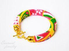 Christmas gift for her Christmas beaded bracelet green red bracelet Bead crochet bangle christmas gift ideas beaded jewelry ChristmasinJuly