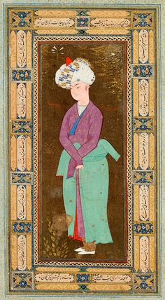 Standing Uzbek Youth Leaf from the Read Persian Album, signed Muḥammad | Mu˒min | Afghanistan, Herat | ca. 1600 | The Morgan Library & Museum