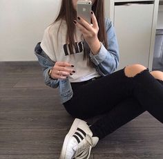 Image via We Heart It #adidas #and #black #blue #clock #dark #fashion #fun #girl #hair #inspiration #inspo #jacket #jeans #long #nails #ripped #shoes #silver #sporty #style #summer #sun #watch #white #brwon #sportstyle #ootd