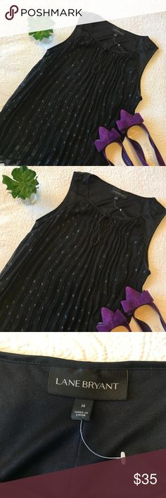 LANE BRYANT Sleeveless Blouse Beautiful blouse from Lane Bryant. Pleated style with sparkly polka-dots & tie at top.   Women's size 14W   ** Labeled NWT because it is new, but the tag broke off by accident ** Lane Bryant Tops Blouses