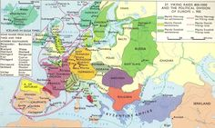 Map: AD: Vikings raids and the Political division of Europe c. European History, Ancient History, Middle East Map, Asia Map, Viking Age, Historical Maps, North Africa, East Africa, Hungary