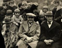 """""""Lucky kids crowd around Yankees legends Babe Ruth & Lou Gehrig on the sidelines of the Notre Dame vs. USC football game at Soldier Field, Chicago (November Babe Ruth, Usc Football Game, Lou Gehrig, Soldier Field, Great Smiles, Sports Figures, New York Yankees, Damn Yankees, Biker"""