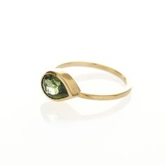Dear Rae // 9ct yellow gold, pear shaped Green Tourmaline ring
