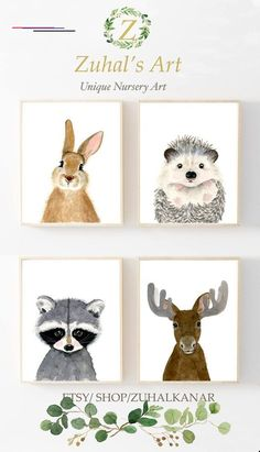 Woodland nursery set Set of 4 Prints Animal Paintings moose hedgehog rabbit raccoon nursery decor Nurser yprints nurserywall art Animal Art Prints, Animal Paintings, Baby Decoration, Woodland Nursery Prints, Nursery Artwork, Nursery Paintings, Baby Mobile, Animal Nursery, Moose Nursery
