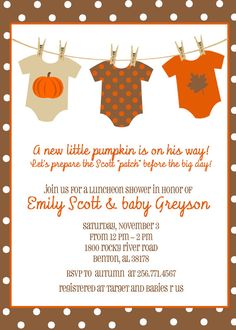 Fall Autumn Pumpkin Baby Shower  Onesies on by planBdsigns on Etsy, $15.00