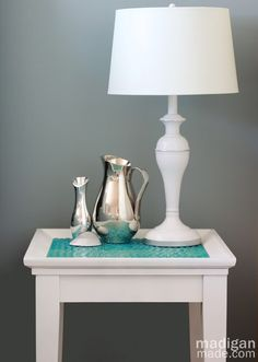 DIY Furniture Update: How to Tile a Table with Glass Gems ~ Madigan Made { simple DIY ideas } for Alyssa, maybe flat tiles on ikea table Decor, Diy Furniture Update, Side Table Makeover, Diy Furniture Fix, Tile Tables, Furniture Update, Diy Decor, Home Decor, Table Makeover