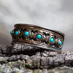 Silver Gold Ring, sterling silver band, twotone ring, turquoise ring, stones ring, December birthstone, floral ring - New beginnings R1143X