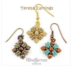 TERESA Earrings - FREE Pattern with CzechMates triangle beads by Carole Ohl