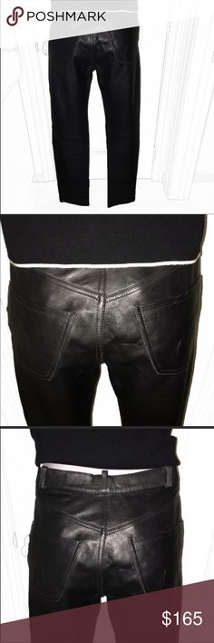 "Authentic Kenzo black leather pants sz 4 Euro 40 Authentic Kenzo black leather pants sz 4 Euro 40 Waist measures 14.5"" flat inseam 30"". Exterior is in excellent condition with a few very light scuffs. Interior lining has unstitched on one side area (still can wear as is as it is not seen) Kenzo Pants Straight Leg"
