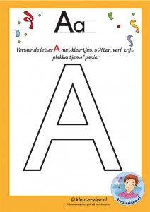 Pakket over de letter a blad 5, versier de letter A, letters aanbieden aan kleuters, kleuteridee.nl, free printable.