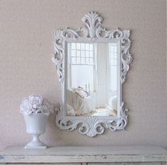 Vintage Rococo Mirror, Swirly Shabby Chic Mirror , Farmhouse White