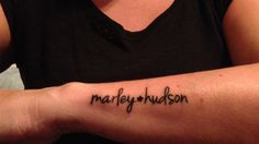 Name tattoo on forearm. Marley, Hudson. #nametat