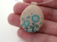 Blue Floral Necklace by MemecoShop on Etsy