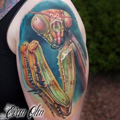 What does praying mantis tattoo mean? We have praying mantis tattoo ideas, designs, symbolism and we explain the meaning behind the tattoo. Sweet Tattoos, Large Tattoos, Soft Colors, Vivid Colors, Mantis Tattoo, Bug Tattoo, Praying Mantis, Best Tattoo Designs, Shoulder Tattoos