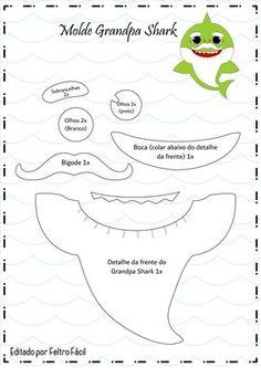 Baby Shower Songs Baby shark with felt and eva printing mold - How do I Shark Birthday Cakes, Boy Birthday Parties, Baby Birthday, Baby Shower Songs, Baby Hai, Shark Craft, Baby Shark Doo Doo, Shark Party, Baby Party