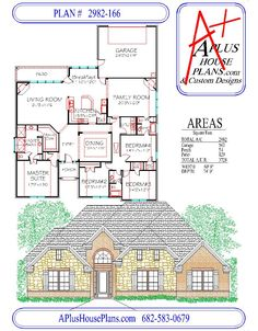 PLAN # 2982-166 House Elevation, Front Elevation, New Home Construction, House Blueprints, First Story, Building A House, Building Homes, Brick And Stone, New Home Designs