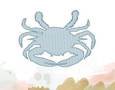 This is a listing for a large embroidery fill design in a crab. It includes a embroidery fill crab with a simple bean stitch outline. The sizes