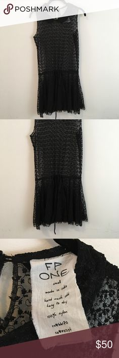 FREE PEOPLE Black Sheer Dotted Dress Free People Dress sheer and has a Drawstring waist! Super cute and is in good condition! Free People Dresses