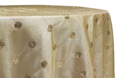 Sequin Embroidery Taffeta 120 inch Round Tablecloth Champagne at CV Linens