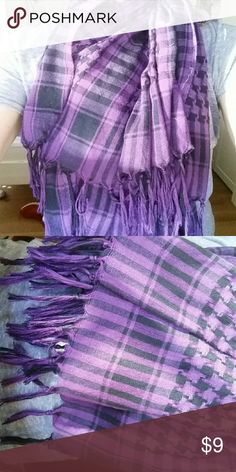 Winter Scarf Black and dark purple winter Scarf with fringed bottom. Lightly worn. Great condition. Please make me an offer! Accessories Scarves & Wraps