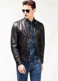 H.E. BY MANGO - Quilted panel leather jacket #Menswear #FW14 #Leather