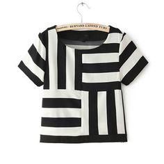 Blouse Styles, Blouse Designs, T Shirt Picture, Mode Top, Black White Stripes, Striped Shorts, African Fashion, Shirt Blouses, Ideias Fashion