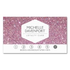 PINK GLITTER Salon Loyalty Card Double-Sided Standard Business Cards (Pack Of 100). Make your own business card with this great design. All you need is to add your info to this template. Click the image to try it out!