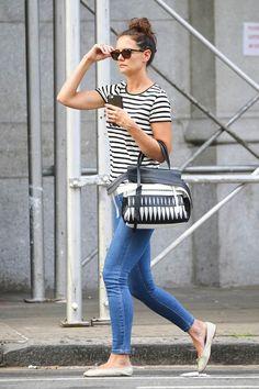 Katie Holmes wearing Tod's Laser Cut Wave Bag