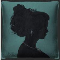 Vintage Lady Silhouette 2 Blue Pillow