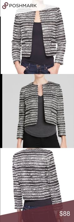 Alice + Olivia Kidman Tweed short jacket Alice + Olivia black white and metallic silver short tweed jacket, blazer.  This jacket looks amazing dressed up or dressed down. Put it on with a teeshirt and jeans or wear with a skirt and you are good to go. Size medium, there are some loose threads besides that the blazer is in excellent condition. Alice & Olivia Jackets & Coats Blazers