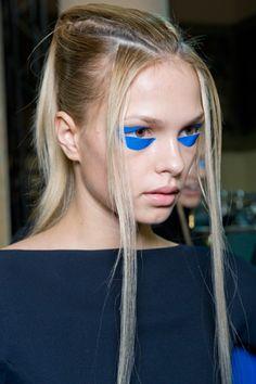 A pop of blue around the eye. Make-up by Alex Box for Gareth Pugh
