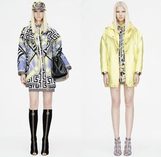 Versace 2015 Resort Womens Lookbook Presentation - 2015 Cruise Pre Spring Fashion Pre Collection - Printed Denim Jeans Destroyed Furry Boxy Shift Dress Polka Dots Flags Patchwork Python Snake Reptile Geometric Harlequin Motif Prints Miniskirt Leather Blazer Gladiator Boots Silk Greek Key Pattern 60s Outerwear Parka Knit Body Con Jewelry Necklace Gown Side Slit Crystals Fringes Sheer Chiffon Cut Out Waist Coat Jacketdress Blouse Stripes Ship Mesh Crop Top Midriff Bandeau Top Pantsuit