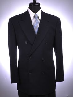 Giorgio Armani Suit (Men's Pre-owned Le Collezioni Navy Modern Double Breasted Unvented Suit)