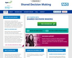 Health: Shared decision making tool. Background information is provided about the condition itself and information on the similarities and differences between the different  treatment options. The tool asks for the patients personal likes and dislikes about the different treatments and helps them trade-off the advantages and disadvantages of each option.  Lastly it supports them to choose an option that is best for them. Log-in for personalisation and storage (ex. questions for doctor).