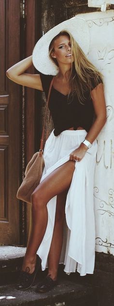 black shirt + white pleated maxi skirt