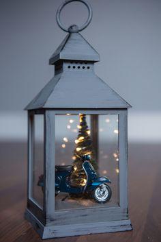 Vespa in a lantern #xmas #christmas #diorama #vespa #lantern #christmaslight #litup #diy #handmade #homedecor We created this diorama.