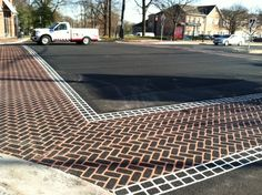 DuraTherm intersections for College Park, MD. High performance, high visibility crosswalks perfect for areas with large amounts of pedestrian and vehicular traffic. Main Color: Cinnamon Border Color: White