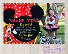Minnie Mouse Thank You Card, Minnie Mouse Birthday, Minnie Mouse Party, Minnie Mouse, Minnie Mouse Red by CutePixels on Etsy https://www.etsy.com/listing/242745996/minnie-mouse-thank-you-card-minnie-mouse