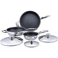 """This high-quality, heavy-duty stainless steel non-stick skillet set makes cooking a smooth affair. The set includes 12-7/8"""" skillet with helper handle and cover; 11"""" skillet with helper handle and cover; and 8-7/8"""" skillet with long handle and cover. Features non-stick coating, thermo control top knobs, stainless steel covers, and phenolic/stainless steel combination handles. Limited lifetime warranty. Gift boxed."""