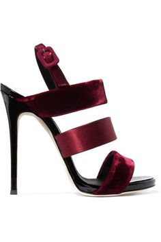 Heel measures approximately 115mm/ 4.5 inches Burgundy velvet, satin and patent-leather Buckle-fastening slingback strap Made in Italy