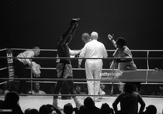 Sport, Boxing, Zurich, Switzerland, 26th December 1971, American boxer Muhammad Ali raises his arms in celebration as trainer Angelo Dundee rushes to embrace him after he had knocked out Jurgen Blin of Germany in the 7th round of their Heavyweight fight
