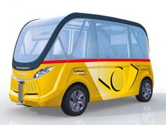 Noch ist der autonome Shuttle nur ein Rendering: 2016 sollen zwei dieser Fahrzeuge probehalber durch Sitten im Wallis bis zu neun Passagiere befördern | Abb. Postauto AG