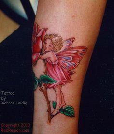 flower fairy tattoo / pretty flower fairy / Rose / tattoo by Aarron Laidig   / SITES  http://www.redregion.com/ --  http://aarron.com/