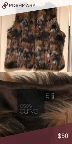 🆕Asos Curve Brown tan multi faux fur rabbit vest Incredible!! One of the most beautiful for vests I have ever seen. Multitude of colors. Functional front pockets this one is a size 20 but I think it should be able to fit size is much smaller as an oversized best. I am a size 12 and it even looks nice on me even though the armholes are a bit large. Really stunning! New without tags ASOS Curve Jackets & Coats Vests