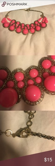 Amrita Singh Pink statement Necklace Worn lightly with love. There is some imperfections on the gold balls and gold chain/clasp(see pictures) but the statement piece itself is perfect. Comes with original bag. Amrita Singh Jewelry Necklaces