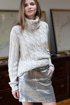 Layering Skirt - Metallic Silver by Emerson Fry New York.love funnel neck sweater too Fall Outfits, Fashion Outfits, City Fashion, Silver Skirt, Catwalks, Fashion Boutique, Passion For Fashion, Autumn Winter Fashion, Style Me