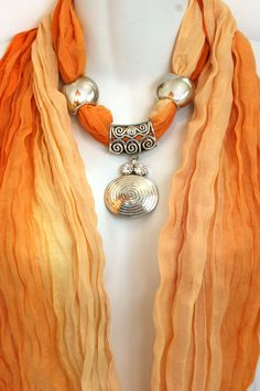 oranges scarves | Orange Scarf With Jewelry Pendant Scarves Ombre Scarves Scarf Necklace